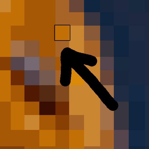 把點陣圖檔放大看到每個像素紀錄一個顏色